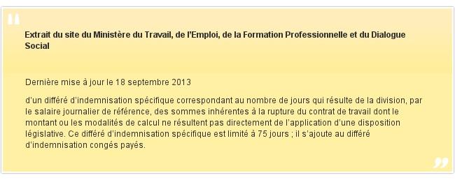 Extrait du site du Ministère du Travail, de l'Emploi, de la Formation Professionnelle et du Dialogue Social