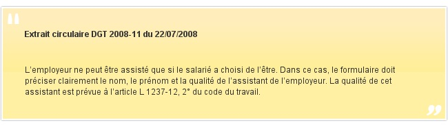 Extrait circulaire DGT 2008-11 du 22/07/2008