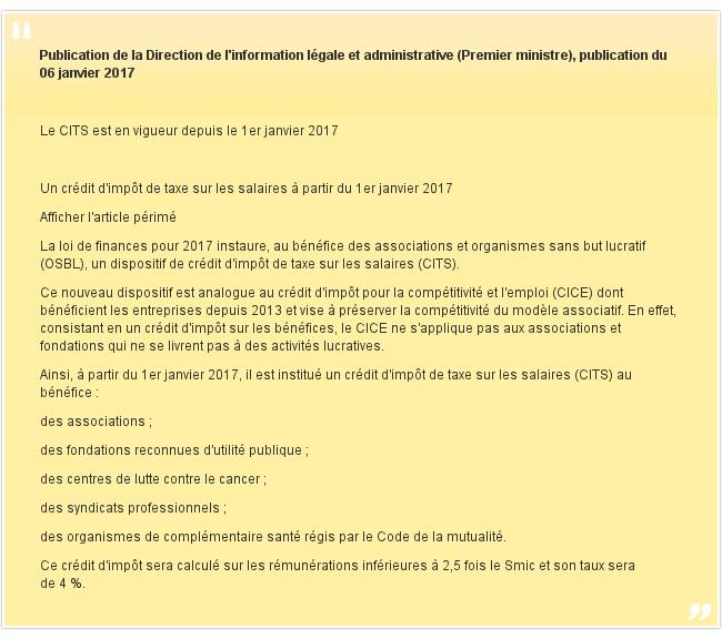 Publication de la Direction de l'information légale et administrative (Premier ministre), publication du 06 janvier 2017