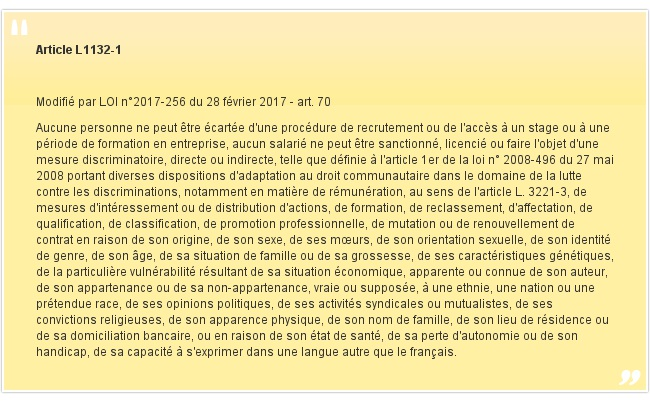 Article L1132-1