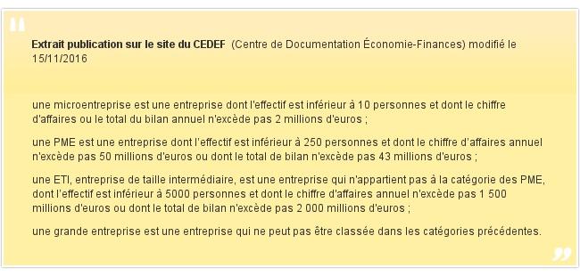 Extrait publication sur le site du CEDEF