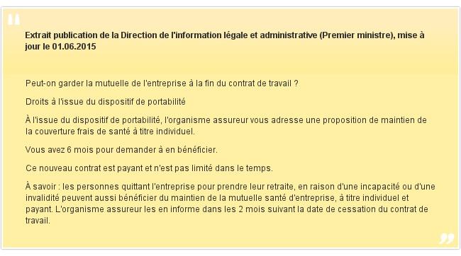 Extrait publication de la Direction de l'information légale et administrative (Premier ministre), mise à jour le 01.06.2015