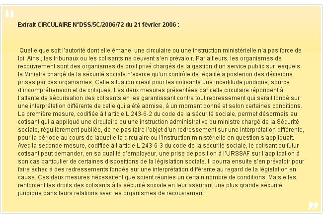 Extrait CIRCULAIRE N°DSS/5C/2006/72 du 21 février 2006: