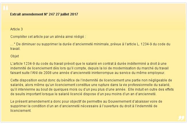 Extrait amendement N° 247 27 juillet 2017