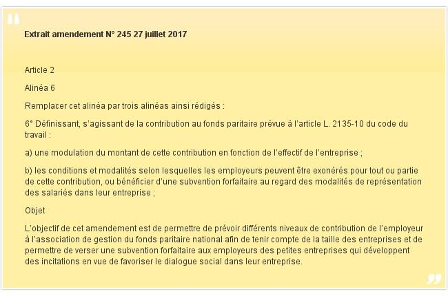 Extrait amendement N° 245 27 juillet 2017