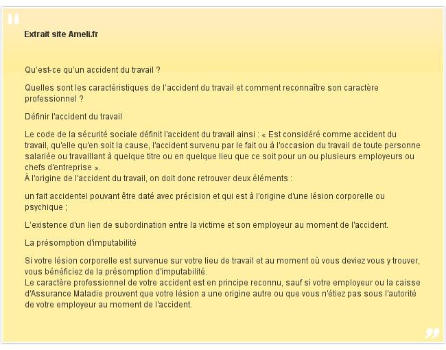Extrait site Ameli.fr