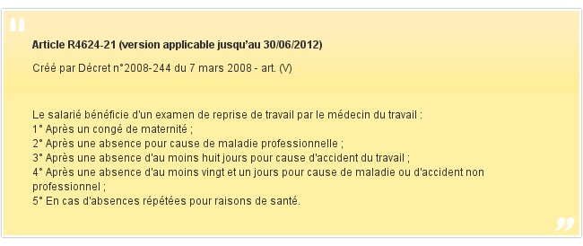 Article R4624-21 (version applicable jusqu'au 30/06/2012)