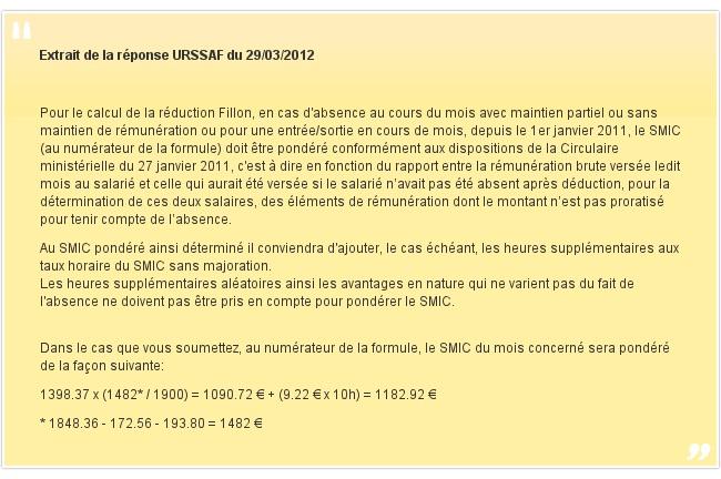 Extrait de la réponse URSSAF du 29/03/2012