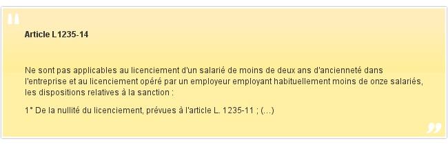 Article L1235-14