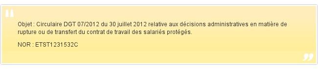 Objet : Circulaire DGT 07/2012 du 30 juillet 20...