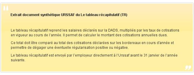 Extrait document synthétique URSSAF du Le tableau récapitulatif (TR)