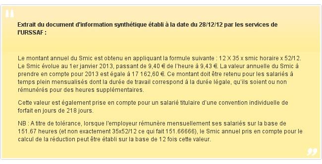 Extrait du document d'information synthétique établi à la date du 28/12/12 par les services de l'URSSAF: