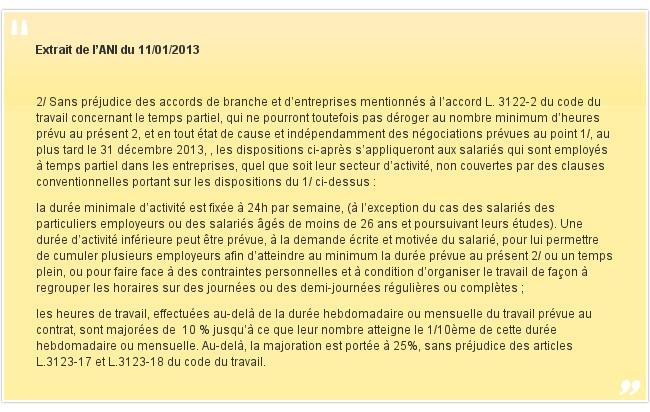 Extrait de l'ANI du 11/01/2013