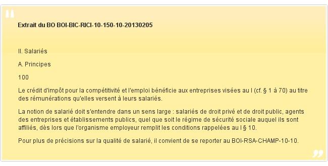 Extrait du BO BOI-BIC-RICI-10-150-10-20130205