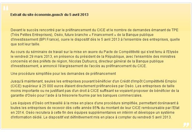 Extrait du site économie.gouv.fr du 5 avril 2013