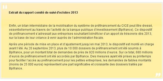 Extrait du rapport comité de suivi d'octobre 2013